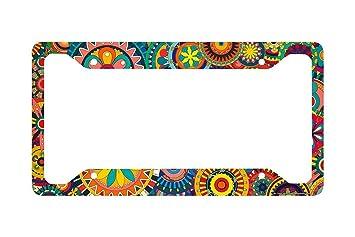 Bright Hippie Peace Love Floral License Plate Frame for Women Men Auto Car Tag Fan Shop