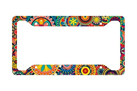 Amazon.com: Airstrike Retro Flower License Plate Frame, Floral ...