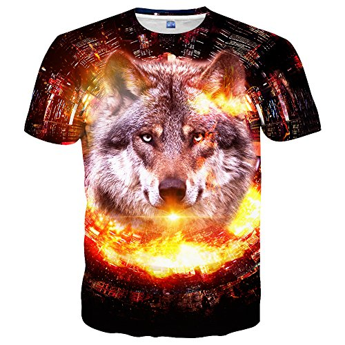 (Linnhoy Mens 3D Printed Pattern Short Sleeve Shirt Cool Graphics Tees M)