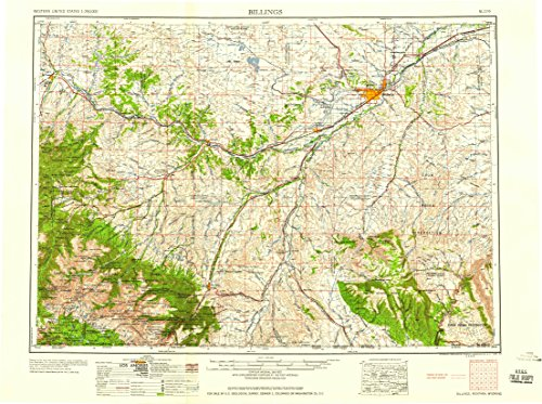 YellowMaps Billings MT topo map, 1:250000 Scale, 1 X 2 Degree, Historical, 1958, 22 x 29.5 in - Polypropylene for $<!--$36.95-->