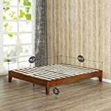 Zinus 12 Inch Deluxe Wood Platform Bed / No Boxspring Needed / Wood Slat support / Cherry Finish, Queen