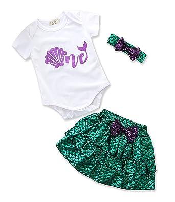 400fc52e47b5 Pinleck Newborn Baby Girl Romper Mermaid Skirt Bowknot Headband ...