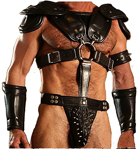 Real Black LEATHER ROMAN GLADIATOR SET MENS UNIFORM LARP GOTH STEAMPUNK - (WAR1) Waist 30