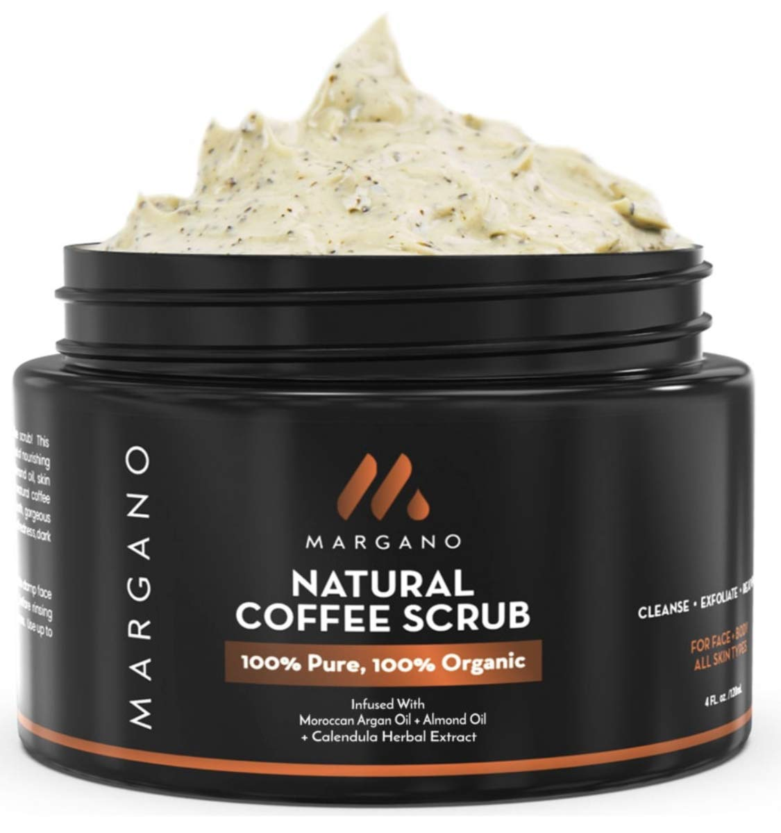 100% Natural Coffee Scrub w/Moroccan Argan Oil + Calendula + Almond Oil + Shea Butter | Ultra hydrating & Soothing. Anti Acne Face Exfoliant. Black heads, Acne Scars. Excellent Body Scrub + Face Scrub by MARGANO