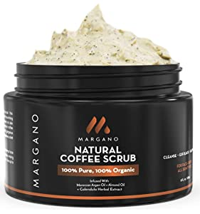 Margano Natural Face & Body Scrub. Energizing Exfoliant w/Coffee, Calendula, Moroccan Argan Oil, Almond Oil, Shea Butter| Anti Acne, Blackheads, Scars, Stretch Marks. Ultra Hydrating.
