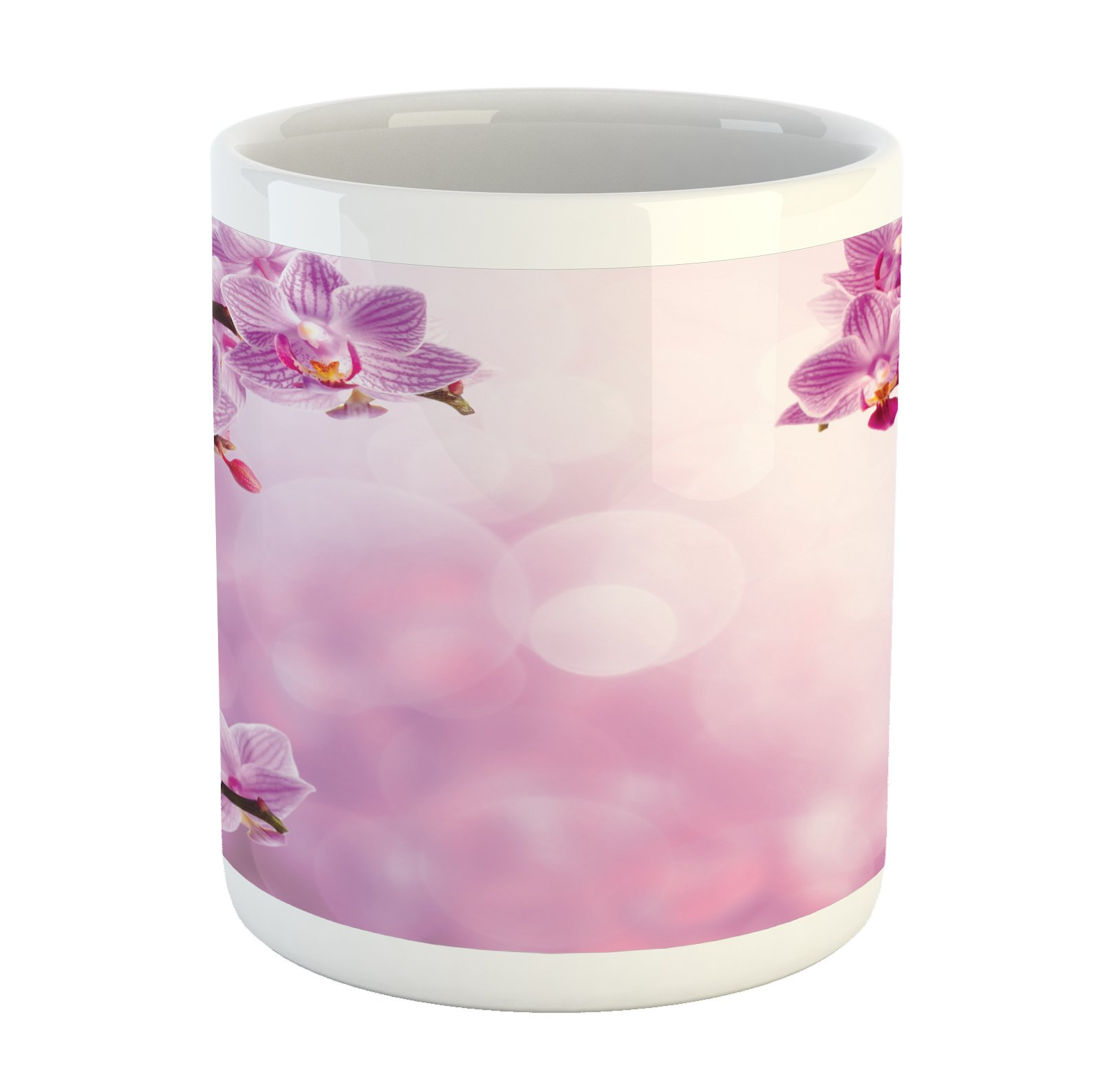 Ambesonne Spa Mug, Orchid Petals in Monochrome Design Bouquet Spring Bloom Seedling Growth Peaceful Nature Print, Printed Ceramic Coffee Mug Water Tea Drinks Cup, Pink