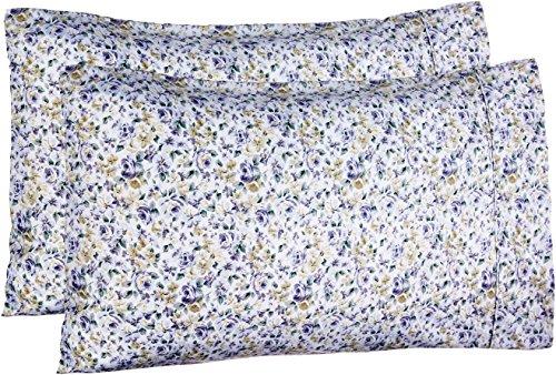 - AmazonBasics Microfiber Pillowcases - 2-Pack, Standard, Blue Floral