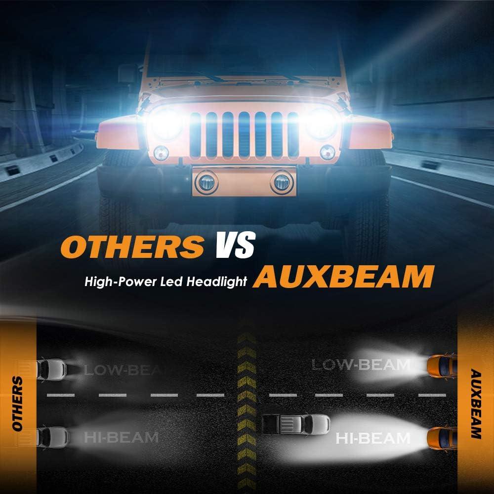 Auxbeam 9004 Led Headlight Bulbs F-TC Series 50W 5000lm 6000K//4300K//3000K Adjustable Color Temperature COB Chips Hi//Lo Beam Conversion Kits