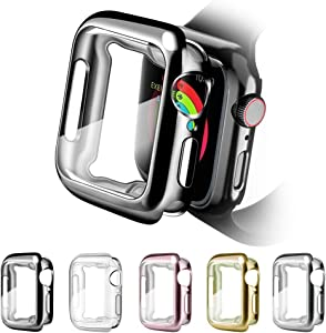 OwnZone 5 Pack iWatch Case Compatible with Apple Watch Case 44mm 42mm 40mm 38mm, Full Cover Ultra-Thin Screen Protector Cases for Apple Watch Series 5 4 3 2 1