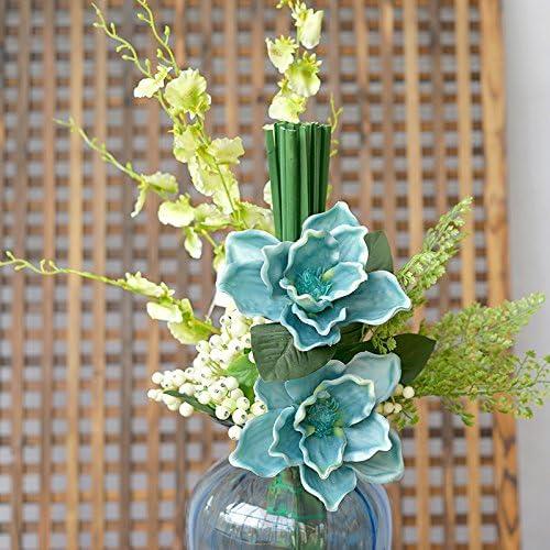 Amazon Com Emulation Flower Cotton Kit Artificial Flowers Silk Flower Decoration Flower Home Furnished With Floral Arrangement False Dried Flower Bouquets Art Furnishings Yellow Blue Home Kitchen