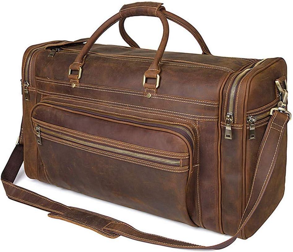 Men's Travel Bag Vintage Leather Travel Bag Fashion Large Capacity Leather Carrying Bag (Color : Brass) Brass