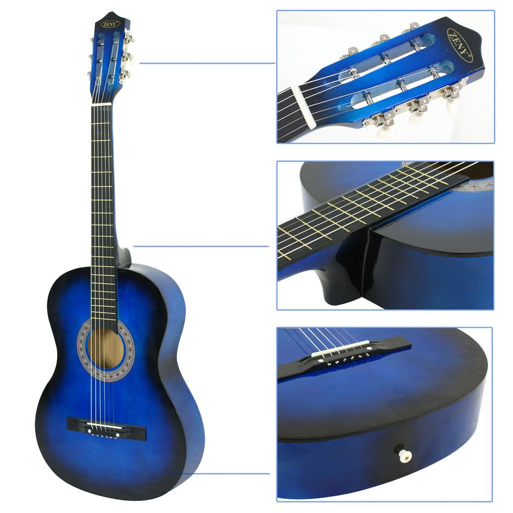 UBRTools Acoustic Guitar 38' Full Size Adult Blue Includes Guitar Pick & Accessories
