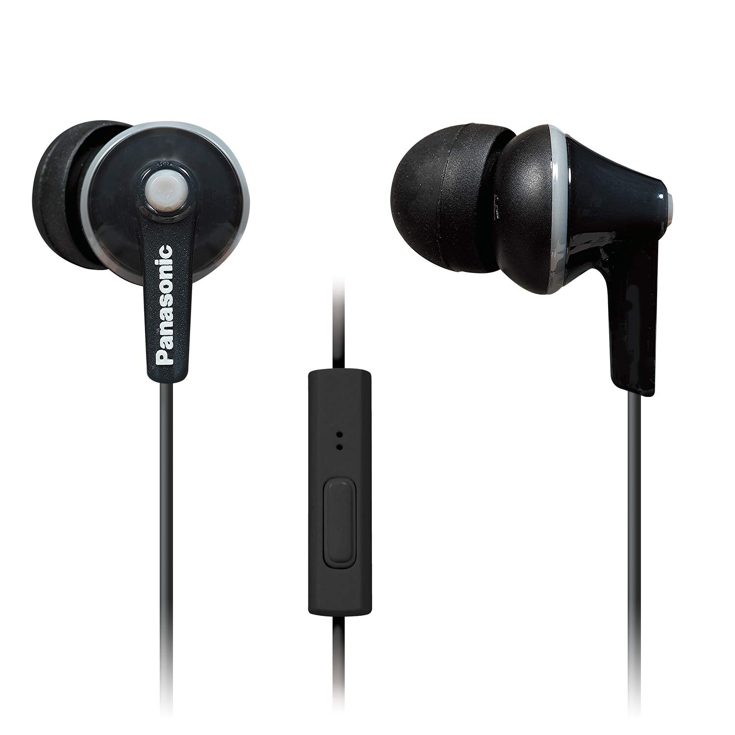 Panasonic ErgoFit In-Ear Earbuds Headphones RP-TCM125-K with Microphone and Volume Controller (Black)