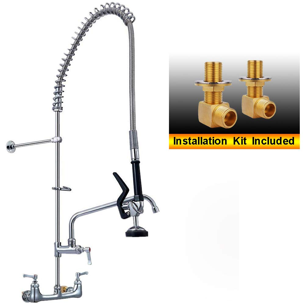 YG Commercial Sink Kitchen Faucet Pull Down Pre-rinse Sprayer 8'' Center Wall Mount 47'' Height with add-on Swing Spout , Chrome Finished