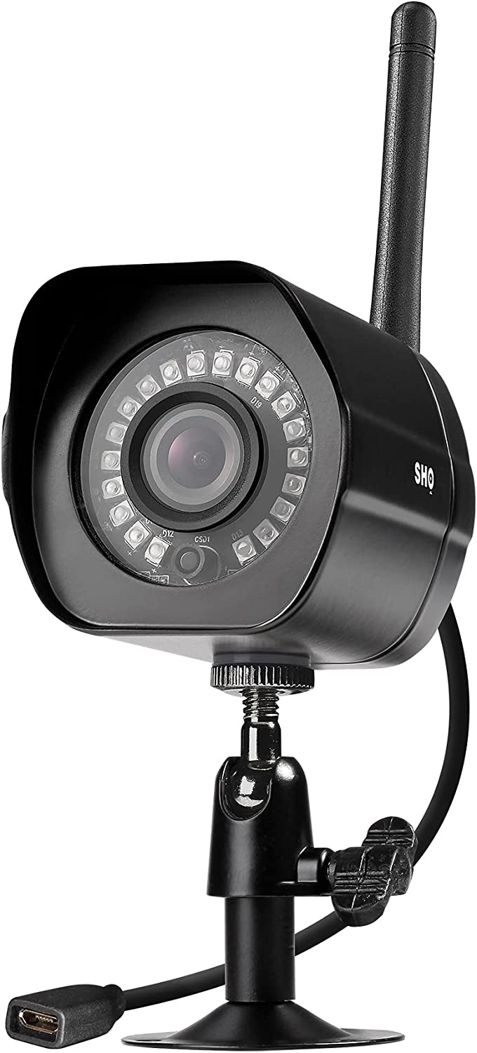 SHO Outdoor Plug-in Smart Security WiFi Camera, 1080P HD Video, IP66 Weatherproof, Motion Detection, Night Vision, Cloud Service, Work with Alexa and Google Home