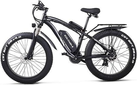 GUNAI Bicicletas Electricas Neumaticos Bicicleta 26 Pulgada 1000w 48V 17AH Bateria Litio Frenos de Disco Bicicleta Bicicleta de montaña(Negro): Amazon.es: Deportes y aire libre
