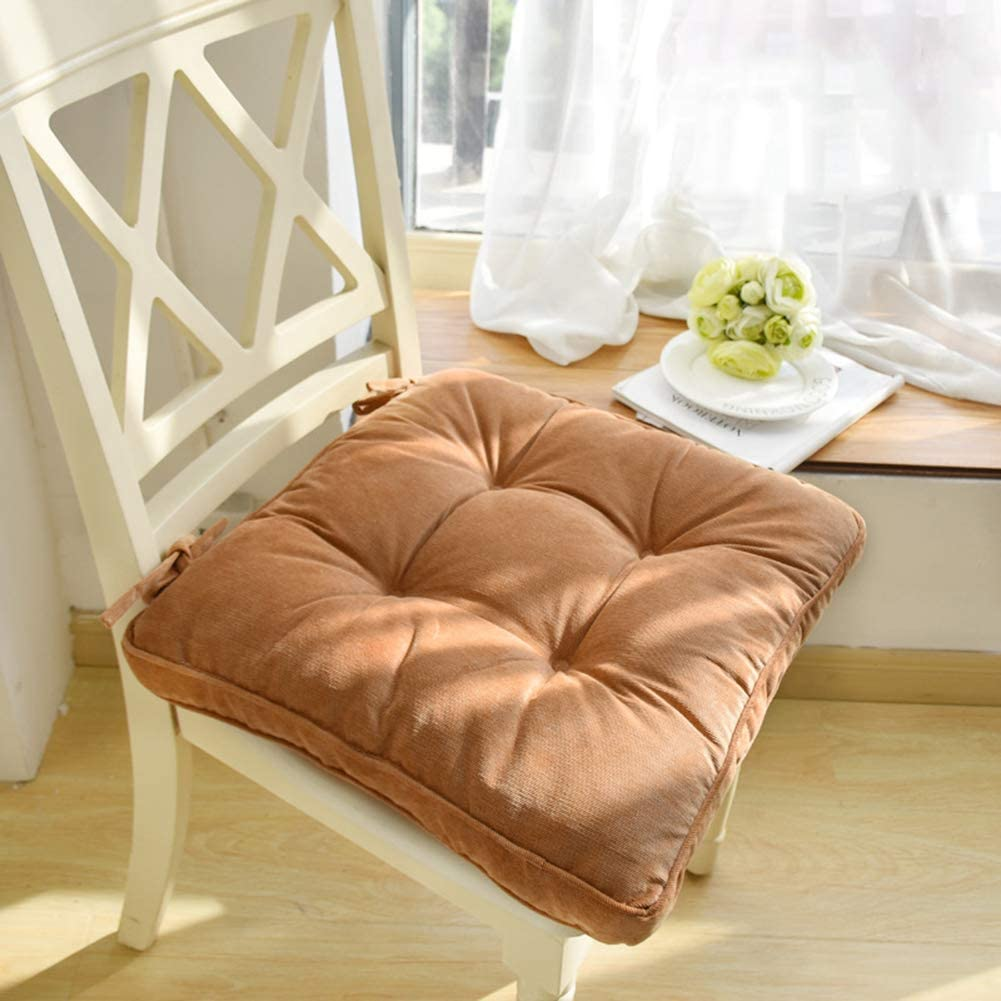 """Nathime Soft Patio Outdoor Chair Pad with Ties Home Decor Indoor Dining Chairs Cushion 16.9""""×16.9""""×3.8"""" Khaki 1Pc"""