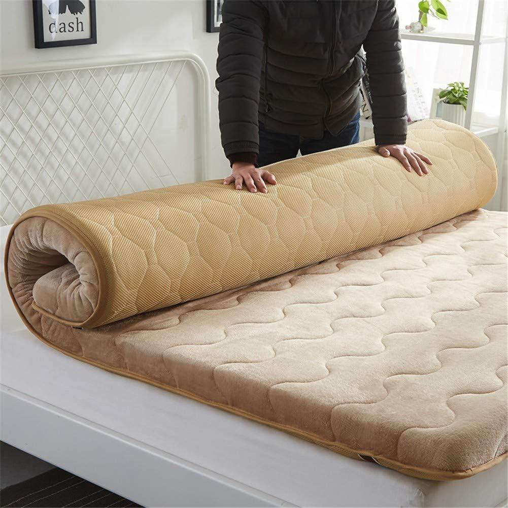 Engrosamiento Felpa colchón de Suelo Color sólido Acolchado Esteras del Tatami Antideslizante Plegable futón Estera (Espesor: 5 cm) para Familia Dormitorio EtcC-120x200cm(47x79inch)