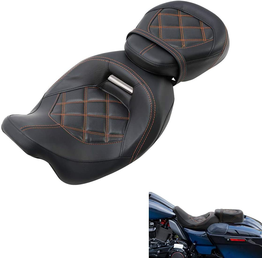 TCMT Low Profile Solo Touring Seat Driver Rider Seat Fit For Harley Touring Road King Road Glide Street Glide Electra Glide Ultra Classic 2009-2020