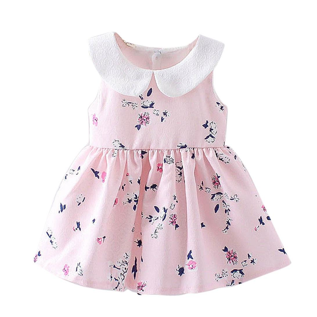 Transer Girls Princess Dresses, Girls Floral Pageant Princess Dress Toddlers Flower Clothes 0-24 Months Child Sleeveless Party Dress Kids Summer Outfits Baby Clothes