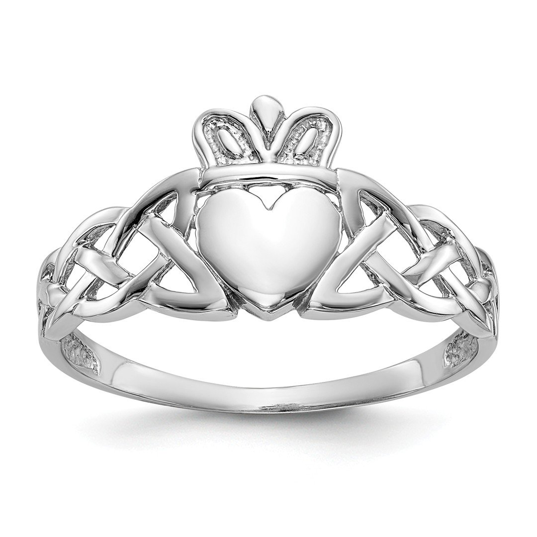 ICE CARATS 14k White Gold Mens Irish Claddagh Celtic Knot Band Ring Size 9.50 Man Fine Jewelry Dad Mens Gift Set