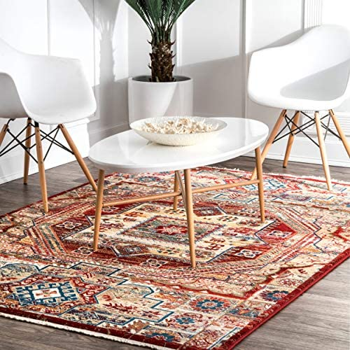 nuLOOM Kaiah Tribal Medallion Fringe Area Rug, 8 10 x 12 , Red