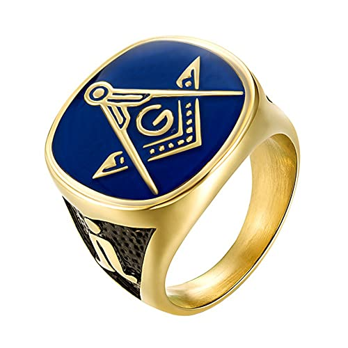 c8983022c2e00 IFUAQZ Men's Stainless Steel Gold Plated Freemason Masonic Rings Blue Lodge  Compass Master Mason Biker Band