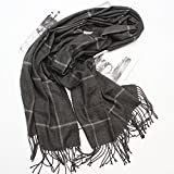 HOMEE Plaid Shawl, Thickening Scarf, Winter Warm Scarf,Dark grey