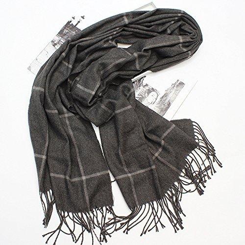 HOMEE Plaid Shawl, Thickening Scarf, Winter Warm Scarf,Dark grey by HOMEE