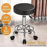 Yaheetech 360° Rolling Swivel Nail Stool Facial Spa Massage Pedicure Manicure Salon Stool, Black