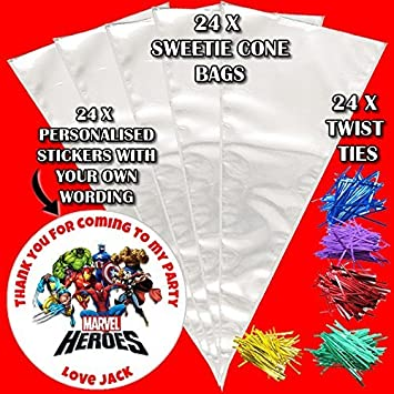 24 personalised marvel heroes do it yourself sweet cones birthday 24 personalised marvel heroes do it yourself sweet cones birthday party bags d3 solutioingenieria Images