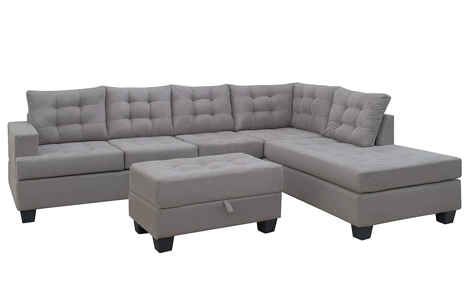 Amazon.com: Sofa 3-Piece Sectional Sofa with Chaise Lounge and ...