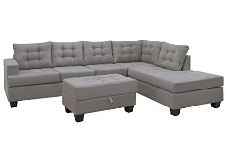 Amazon.com: Sofa 3-Piece Sectional Sofa with Chaise Lounge ...