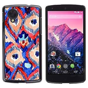 TopCaseStore / la caja del caucho duro de la cubierta de protección de la piel - Red Blue Lines Art Watercolor - LG Google Nexus 5 D820 D821