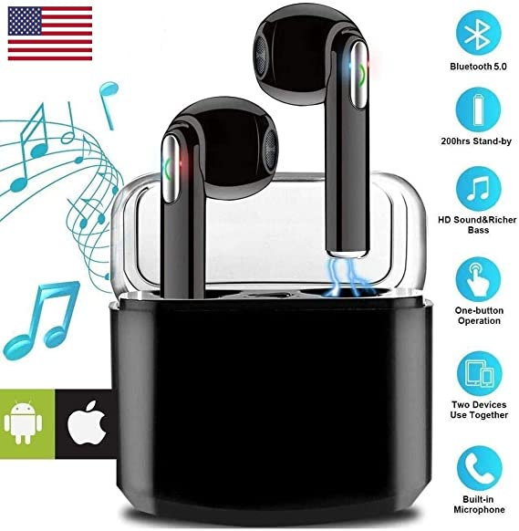 【2020 Upgraded Version】 I7s TWS Sound Wireless Bluetooth Earphone Earbud Headphone Handsfree Sports Running Sweatproof Compatible iOS Android Noise Cancellation Charging Case Mic (White/Black)
