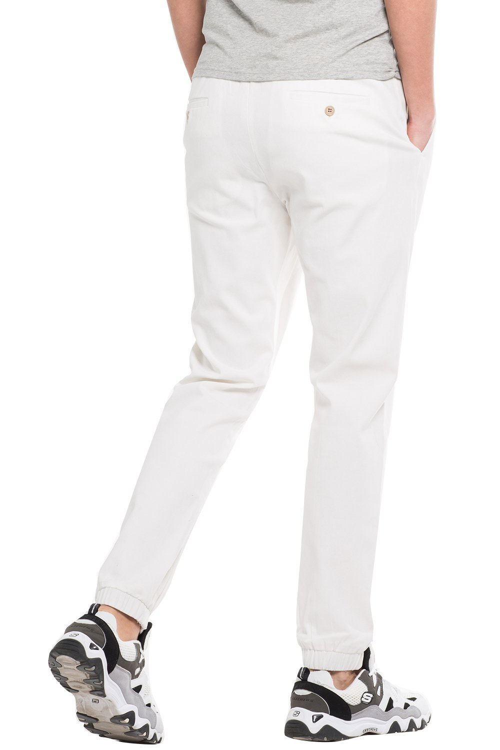 INFLATION Men's Stretchy Casual Jogger Pants  Blend Combed Cotton Formal Elastic Waist Trousers Dress Pants White US SIZE L by INFLATION (Image #3)