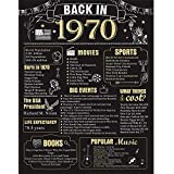 50 Years Ago Birthday or Wedding Anniversary Poster 11 x 14 Party Decorations Supplies Large 50th Party Sign Home Decor for Men and Women (Back in 1970-50 Years)