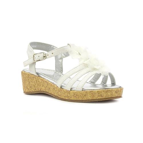 Size 2 wedges amazon lilley girls white flower wedge sandal mightylinksfo