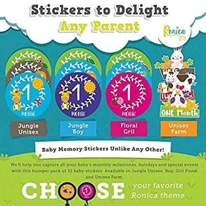 Unique Baby Gifts- Farm Theme 12 Baby Monthly Stickers Record Your Babys Growth Massive Pack of 32 Baby Stickers 20 Popular Milestones Baby Stickers Holidays And Special Firsts