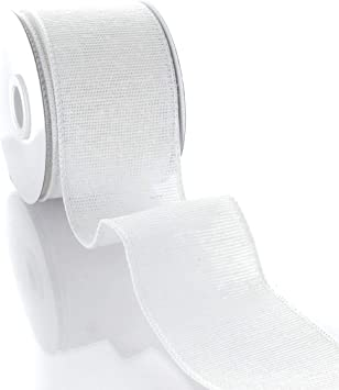 2.5 Wired Burlap Ribbon 029 White 10yds
