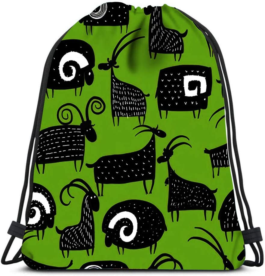 Drawstring Backpack Goats And Rams Laundry Bag Gym Yoga Bag
