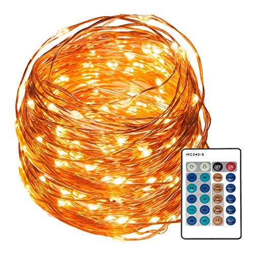 REMZES Starry String Lights: 33 Foot Copper Wire Strand with 100 LED Lights, Remote, AC Adapter, plus LED Tea Candle and LED Balloon (Outside Decorating Ideas)