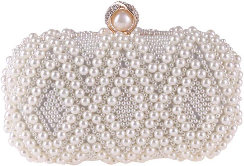 Sac De Soirée Perle Perlée Et Diamant De Mariage/Occasions De Soirée Sacs À Main/Pochette pour La Noce (Color : Pink) White