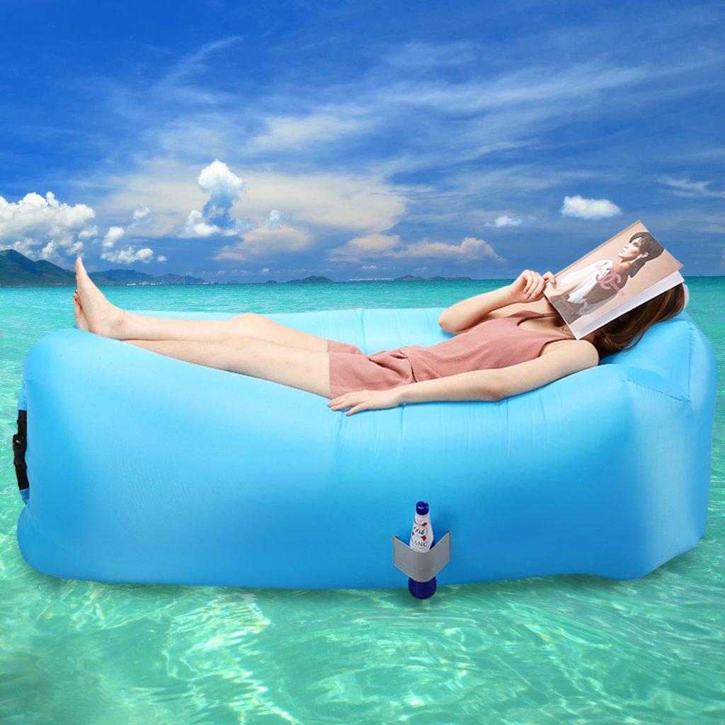 Azul LANGRIA Sof/á Hinchable con Almohada Integrada y Bolsillo Lateral Tumbona Inflable de Nylon Resistente Capacidad 200 Kg para Interior//Exterior Uso en Playa Piscina Camping Parque