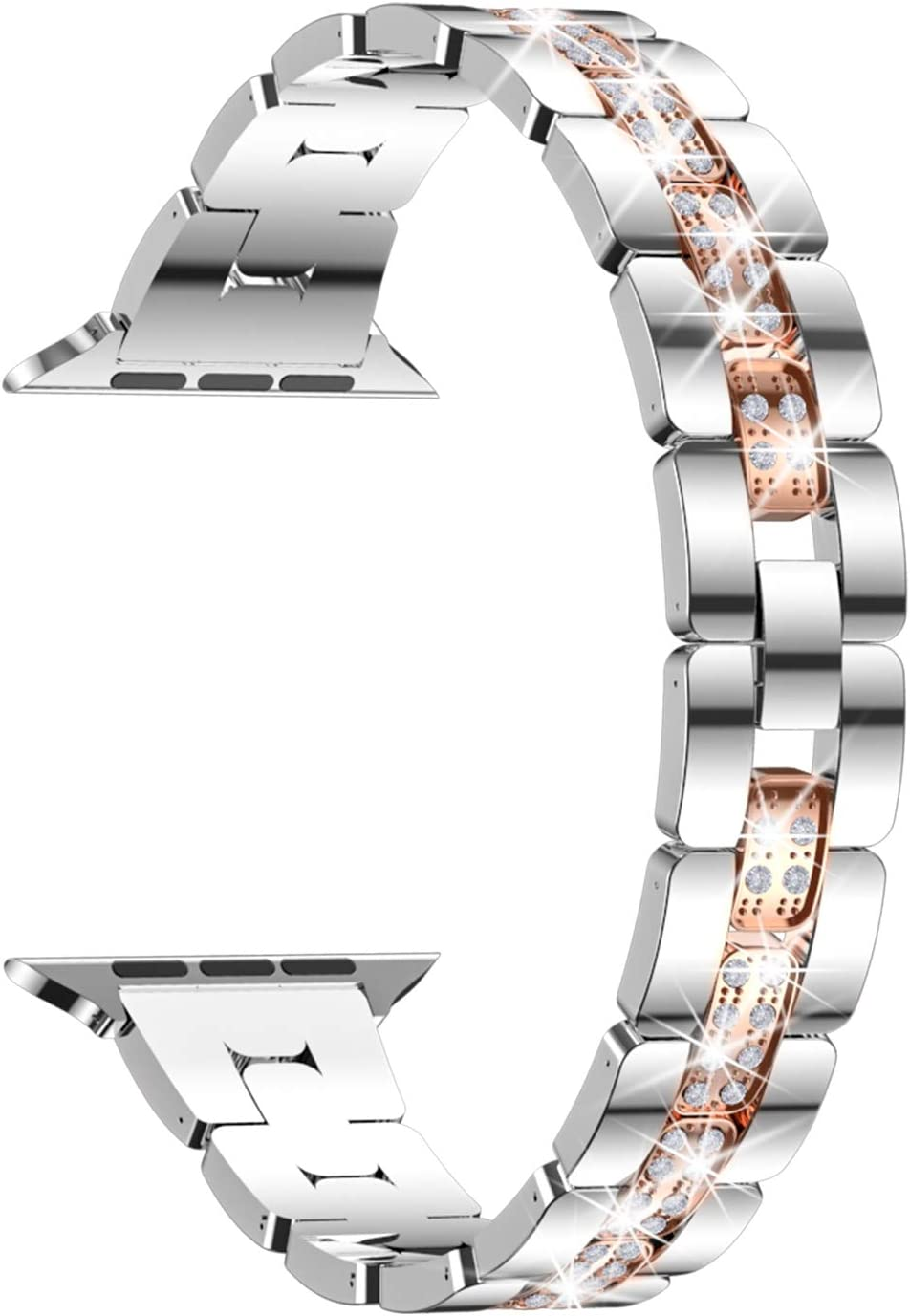 wootfairy Bling Diamond Apple Watch Bands Compatible with iWatch Bands 38mm 40mm Watch Series 6 5 4 3 2 1 Women Dressy Jewelry Stainless Steel Wristband Bracelets Strap, Silver&Rose Gold, 38mm/40mm