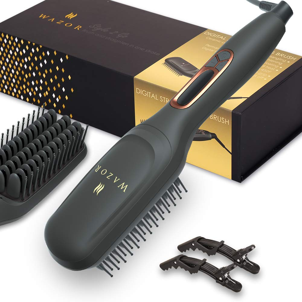 Ionic Hair Straightener Brush 1.75 Inch, 2 in 1 Ceramic Straightening Brush Beard Straightener, Hot Comb with Anti-Scald Feature, 60 Min Auto-off Auto Temp Lock, Gift Set