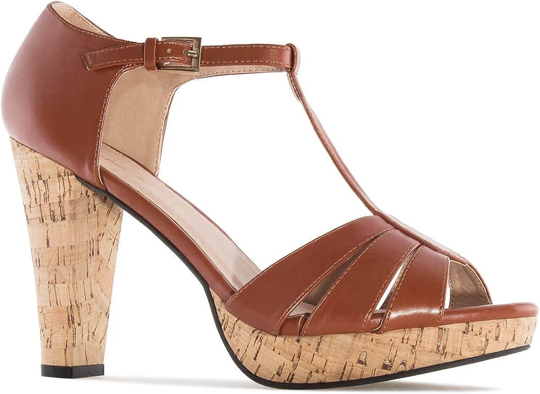 Sandalias Soft Marron Tacon Corcho.42: Amazon.es: Zapatos y