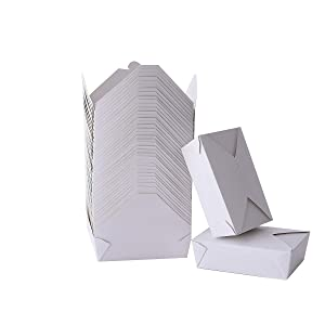 Take Out Boxes 71 Oz White Chinese Take Out Containers 40 Pack Microwaveable Folding Natural Food Boxes for Food Take Out Boxes Ideal Leak and Grease Resistant Food Containers for Restaurants