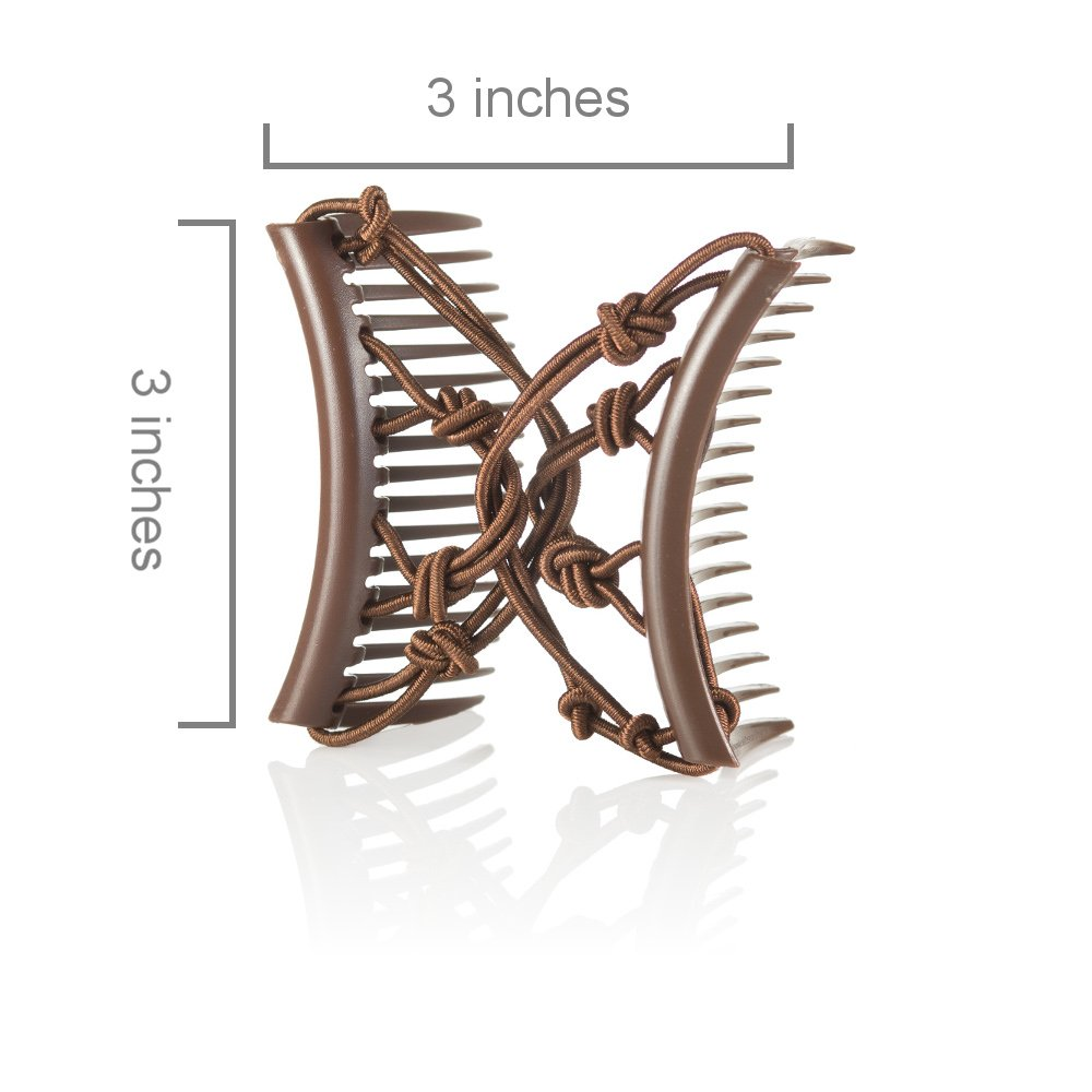 Double Elastic Hair Combs by HairZing - Clip for Thick, Curly, Kinky Hair - Put Your Hair Up in Seconds w/No Damage, Creases, or Pain - Comfy UpDo, Ponytail, French Twist, Bun (Pretzel Medium, Brown) by HairZing (Image #4)