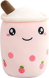 JackDuck Cute Bubble Tea Plush Pillow Stuffed Animal Cushion Cartoon Food Snack Plush Toys Milk Tea (9.8inch/13.7inch/19.6inch) Gift for Kids (Pink, 19.6inch)